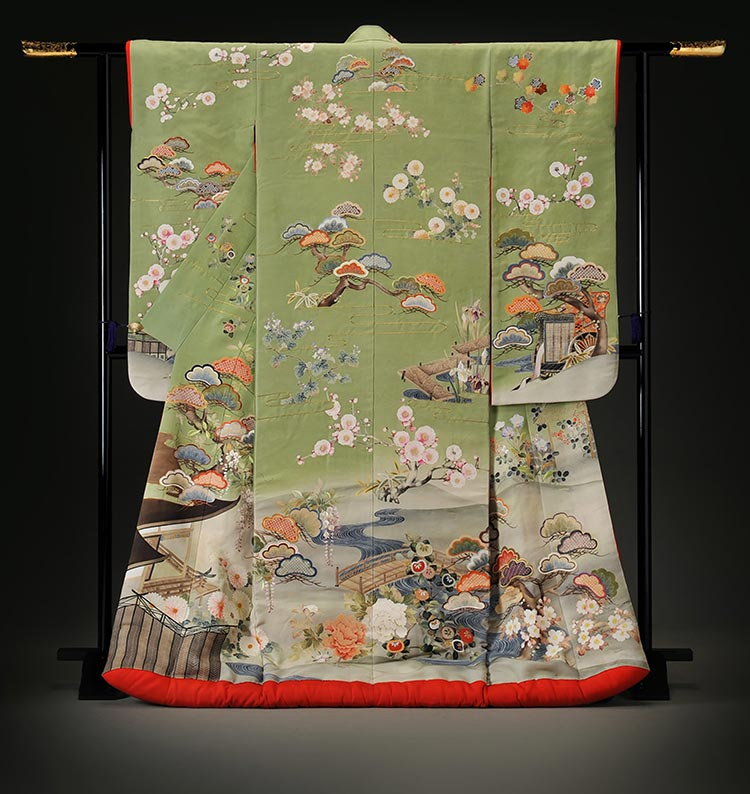 Furisode with Palace Garden Design